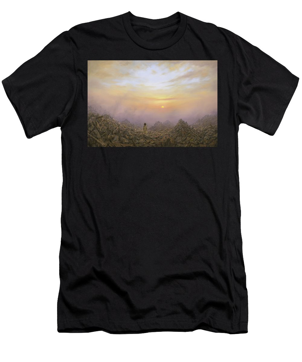 Landscape T-Shirt featuring the painting Wasteland by Brian McCarthy