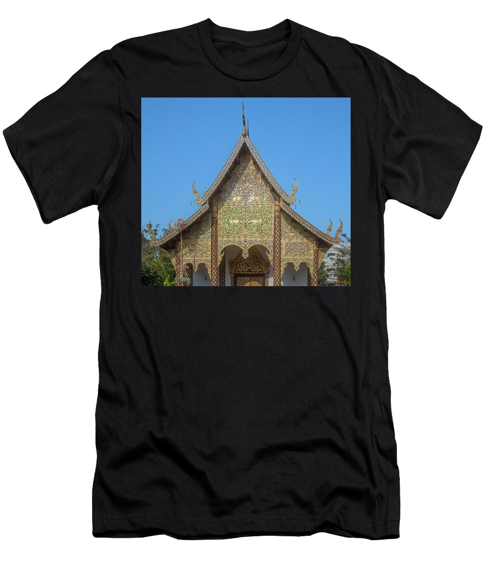 Scenic Men's T-Shirt (Athletic Fit) featuring the photograph Wat Chamthewi Phra Ubosot Gable Dthlu0077 by Gerry Gantt
