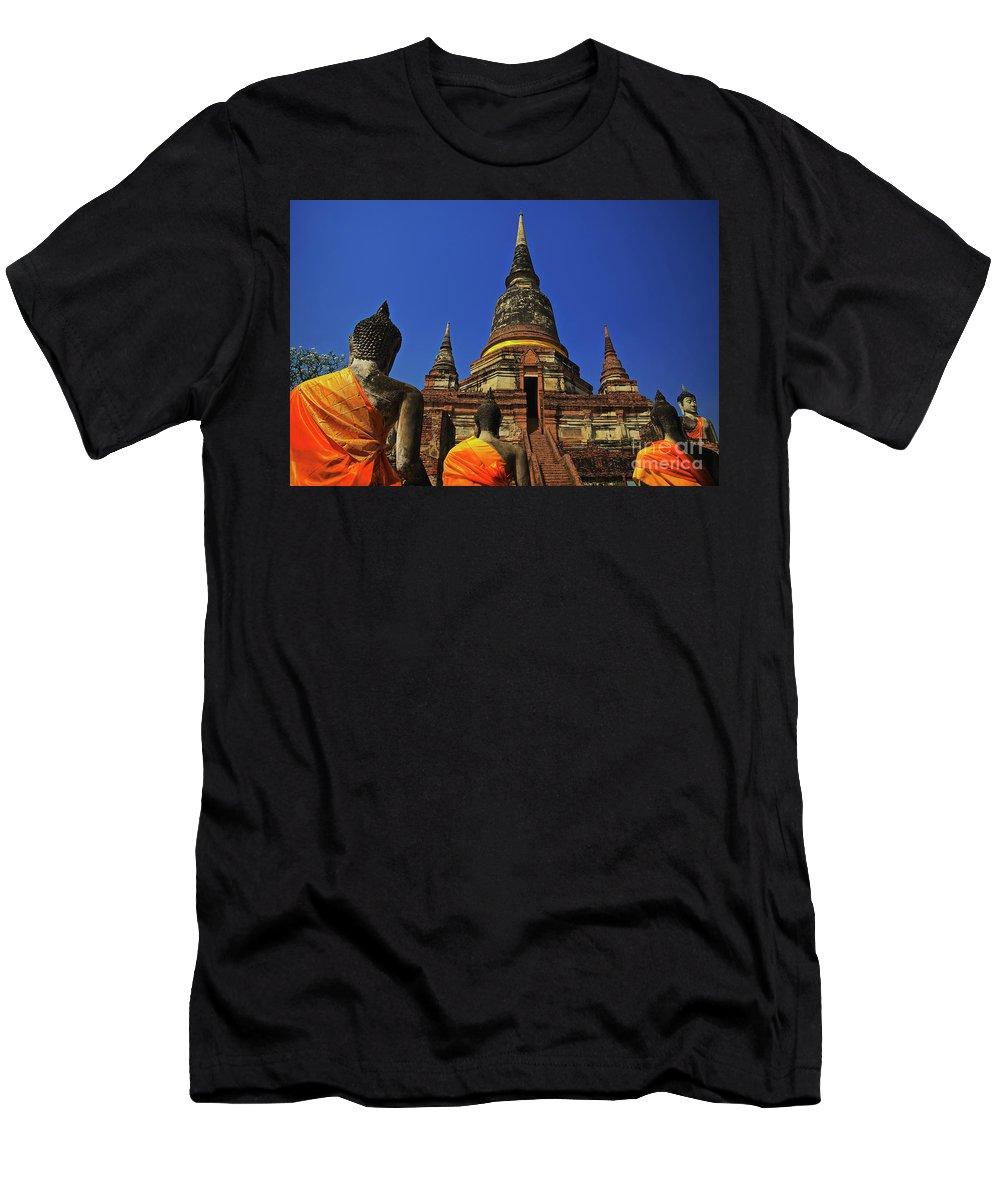 Ayuthaya Men's T-Shirt (Athletic Fit) featuring the photograph Wat Yai Chai Mongkol In Ayutthaya, Thailand by Sam Antonio Photography