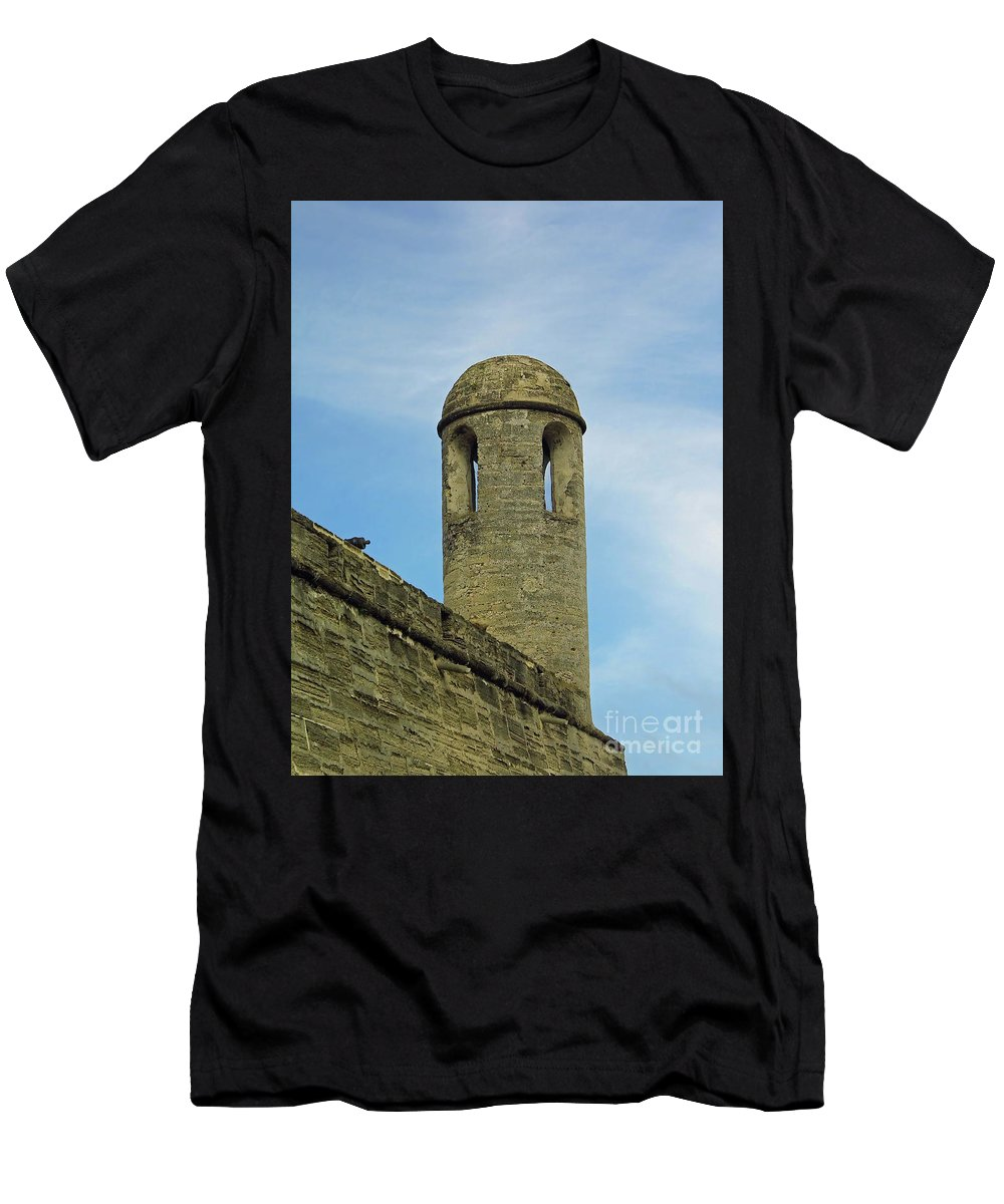 Castillo De San Marcos Men's T-Shirt (Athletic Fit) featuring the photograph Watch Tower On The Castillo by D Hackett