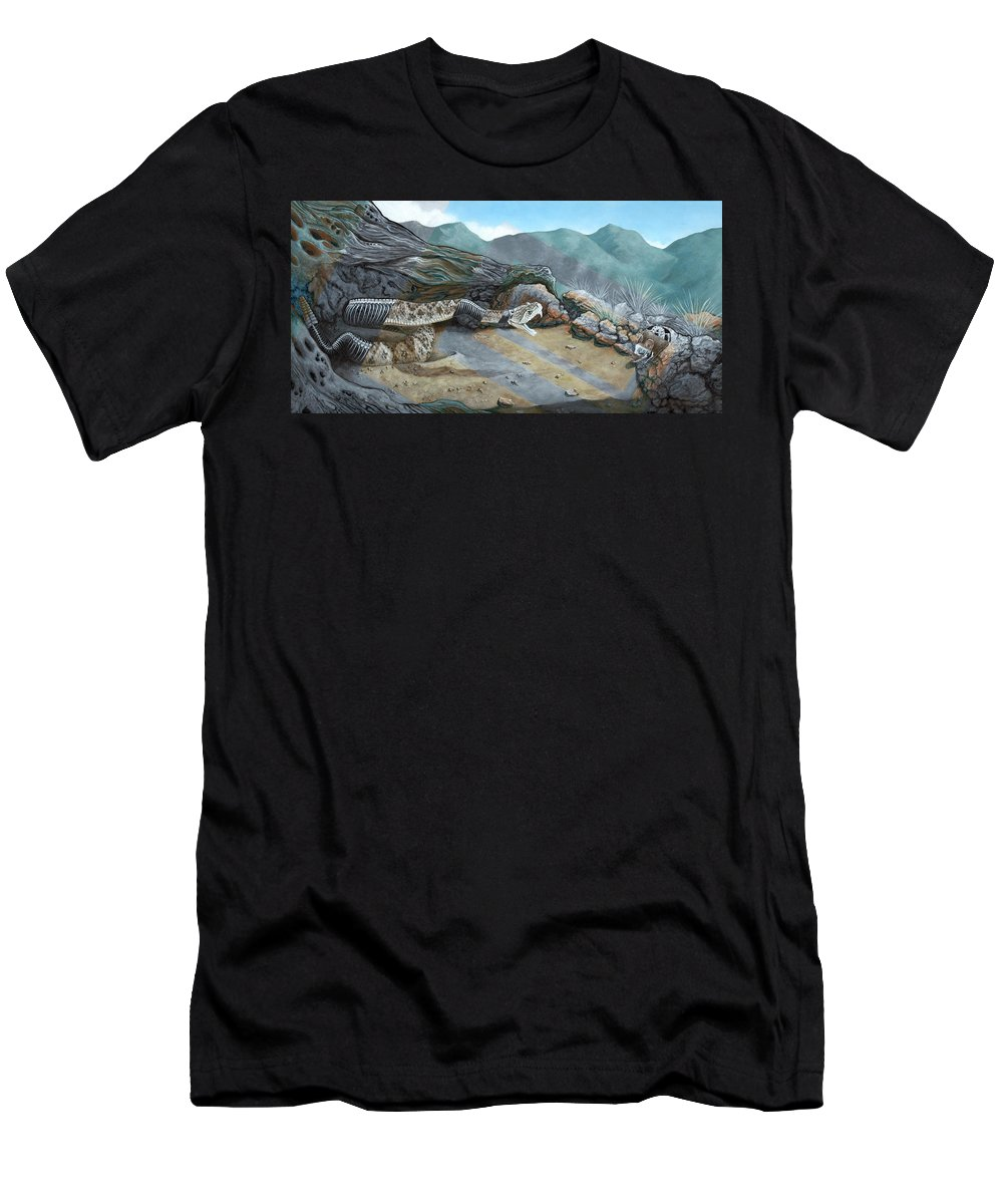 Landscape Men's T-Shirt (Athletic Fit) featuring the painting Watch Your Step by LE Williams