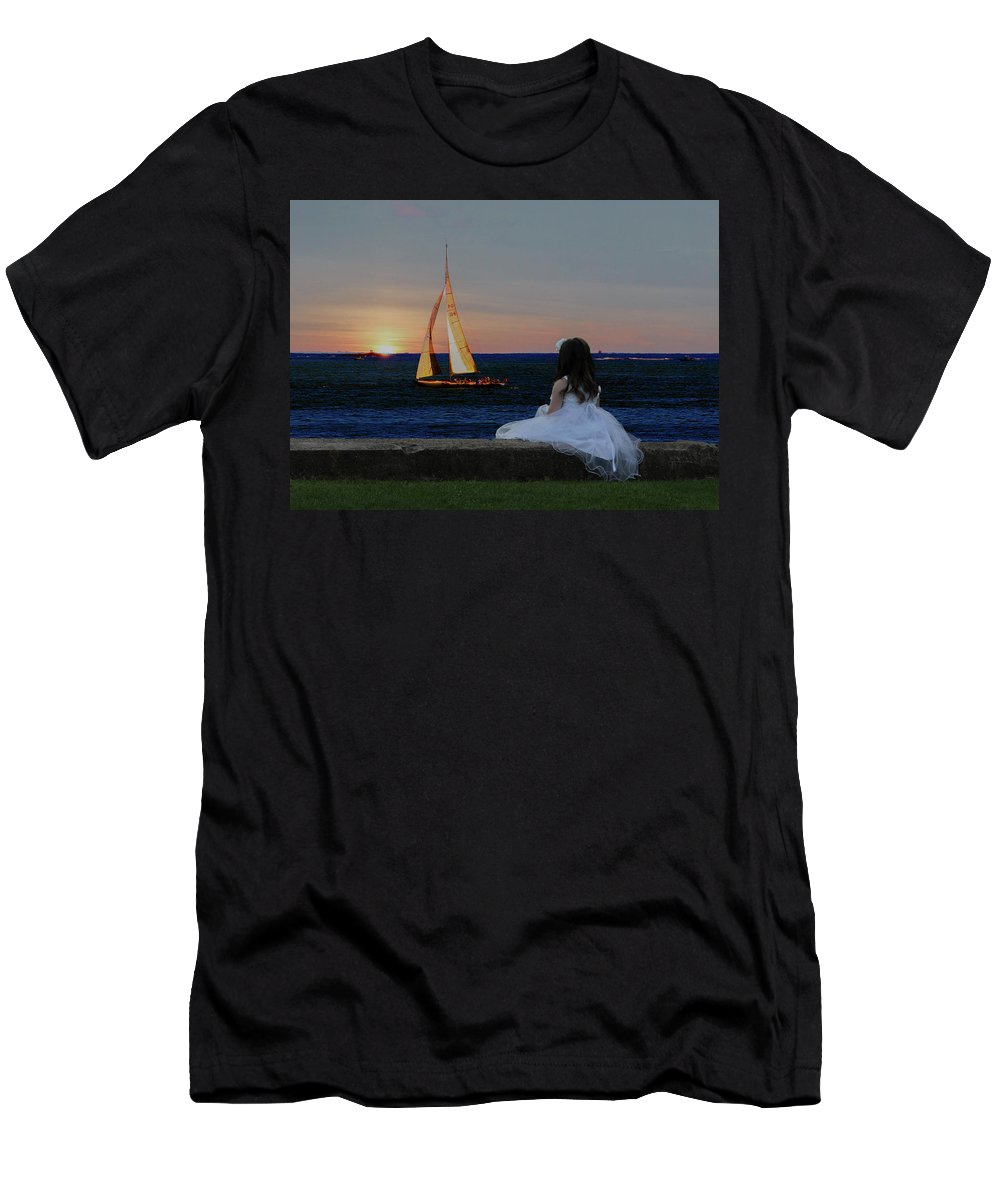 Sunset Men's T-Shirt (Athletic Fit) featuring the digital art Watching The Sunset by Janet Argenta
