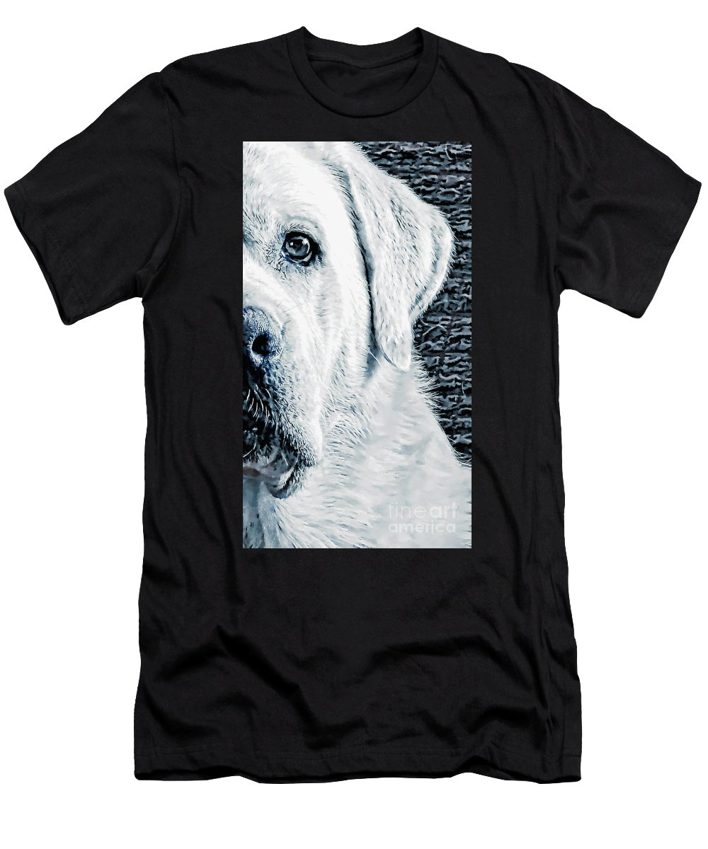 Dog Art Men's T-Shirt (Athletic Fit) featuring the mixed media Watching U by GabeZ Art