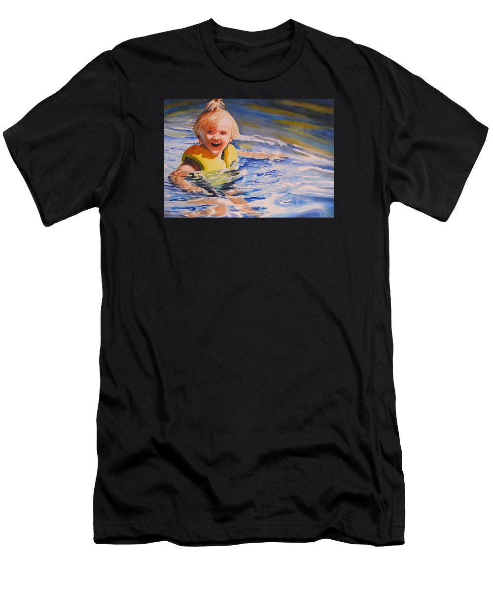 Swimming Men's T-Shirt (Athletic Fit) featuring the painting Water Baby by Karen Stark