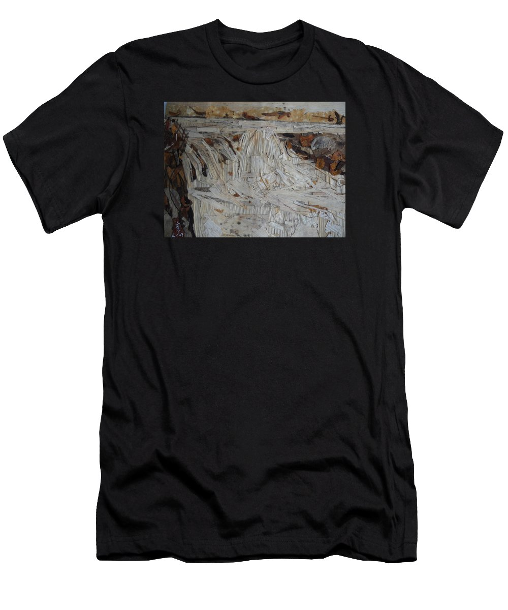 Water Fall Men's T-Shirt (Athletic Fit) featuring the mixed media Water-fall After Rainy Season by Basant Soni