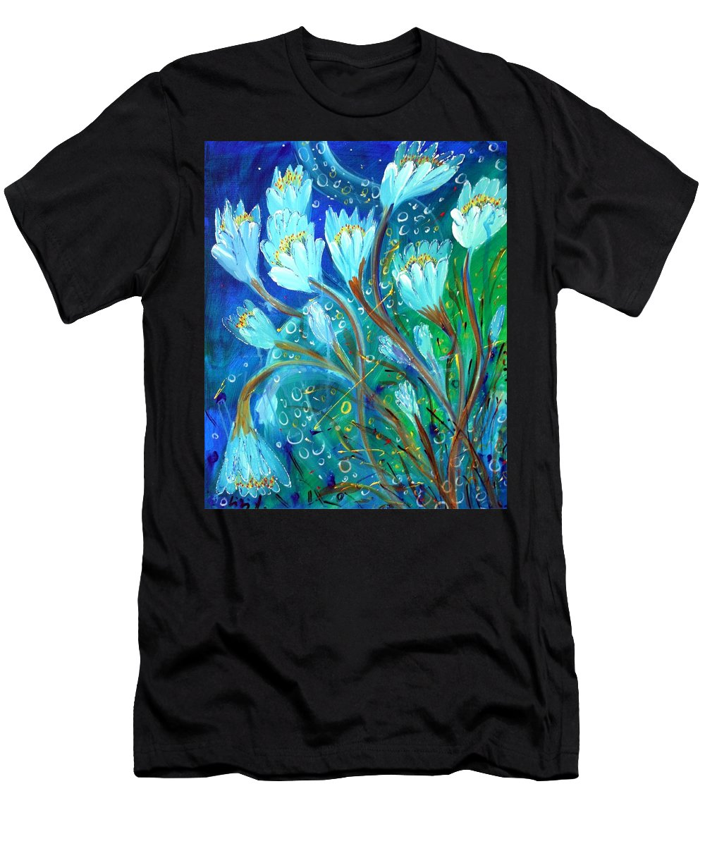 Flowers Men's T-Shirt (Athletic Fit) featuring the painting Water Flowers by Luiza Vizoli