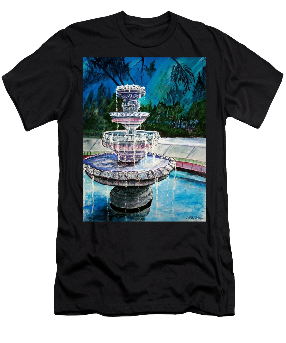 Acrylic T-Shirt featuring the painting Water Fountain Acrylic Painting Art Print by Derek Mccrea