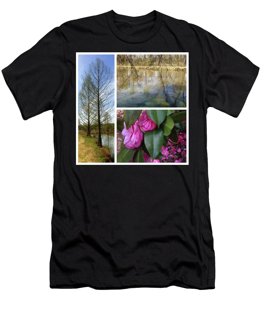 Men's T-Shirt (Athletic Fit) featuring the photograph Water Garden Three Views by Iris Posner