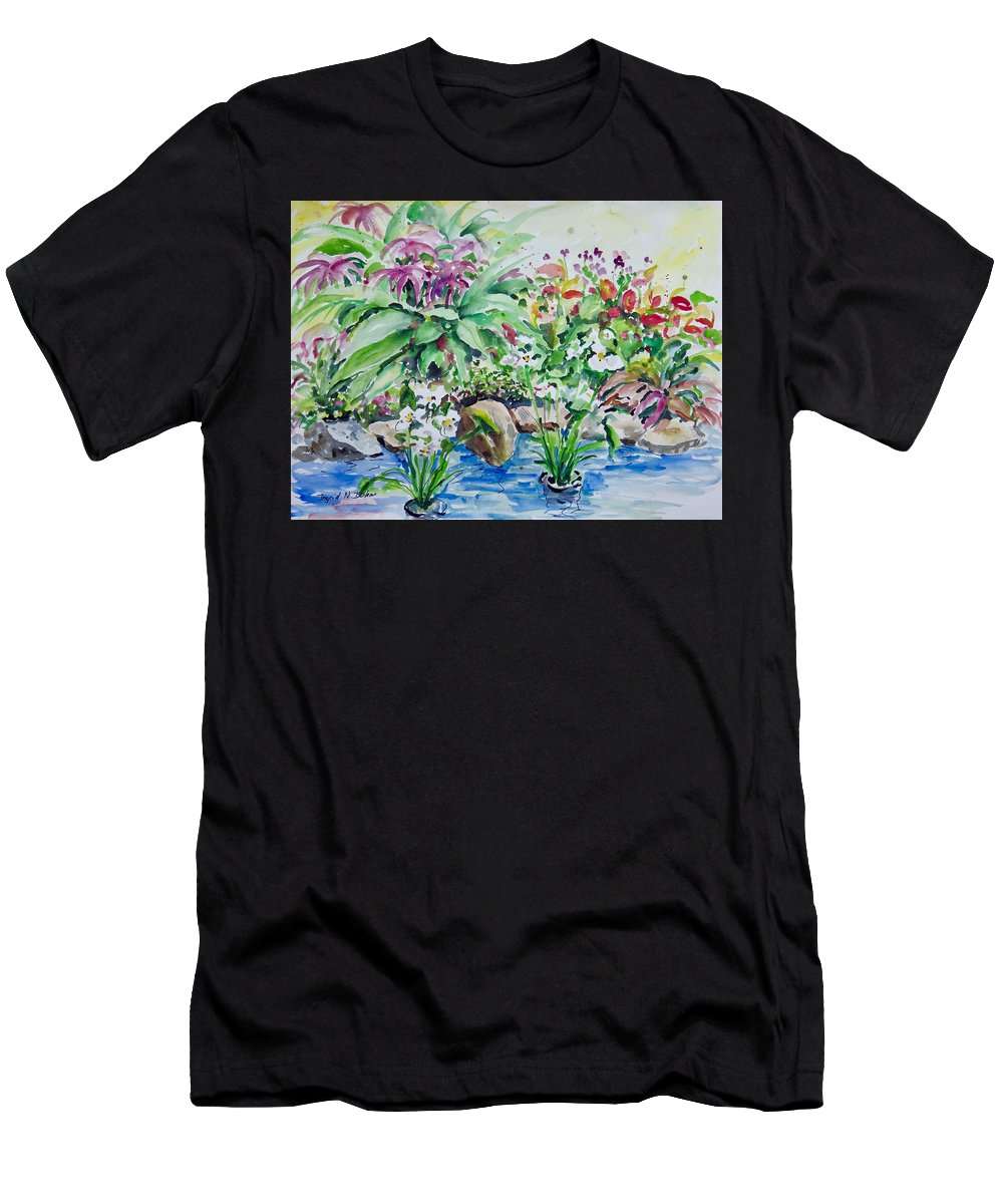 Water Men's T-Shirt (Athletic Fit) featuring the painting Water Garden by Ingrid Dohm