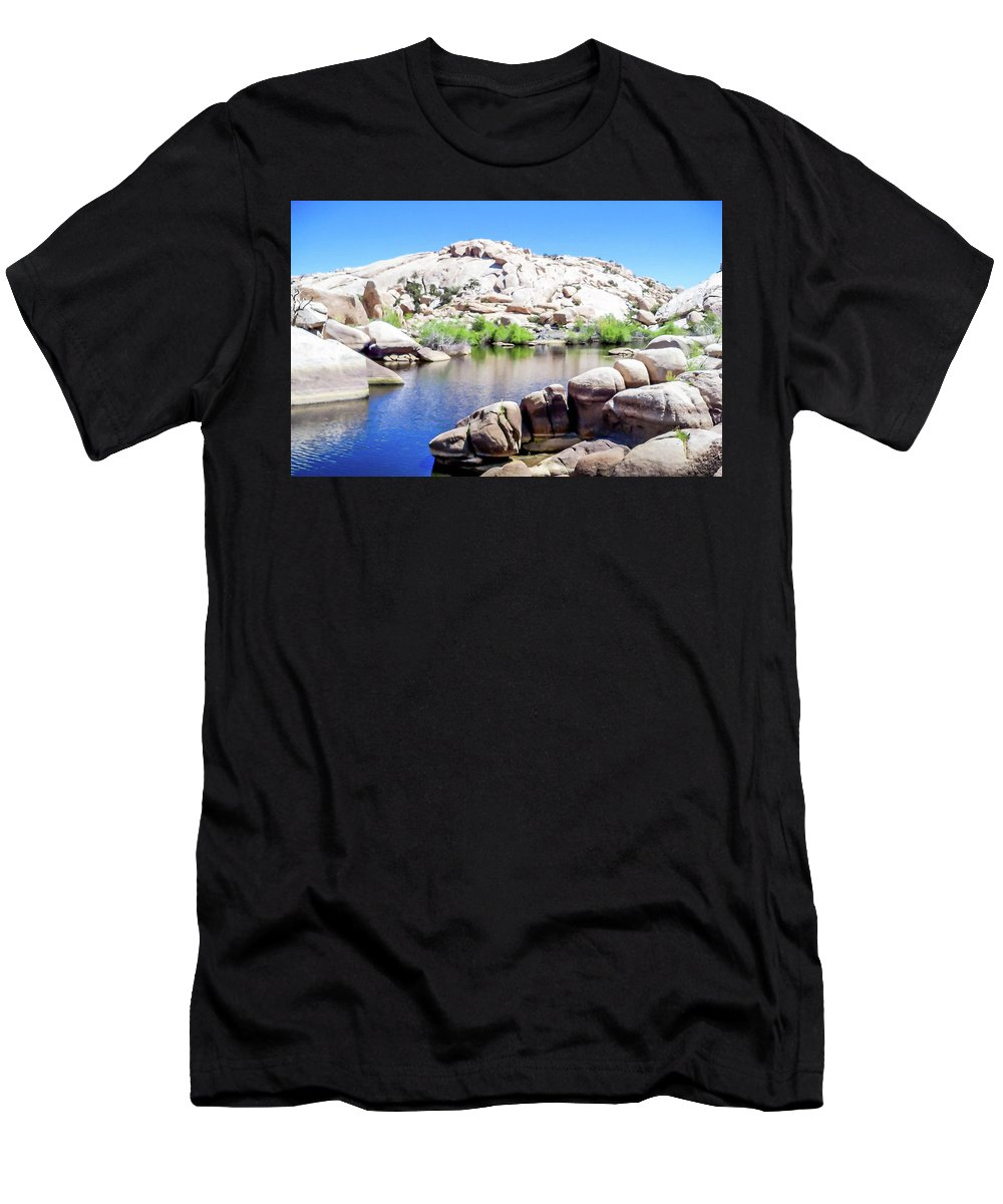 Water Men's T-Shirt (Athletic Fit) featuring the photograph Water In The Desert by Kathleen Maconachy