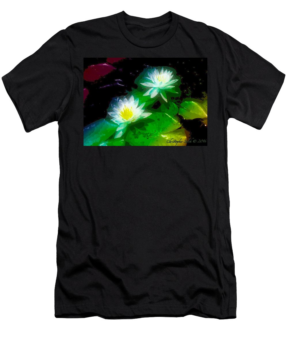 Photoart Men's T-Shirt (Athletic Fit) featuring the digital art Water Lilies by Christopher Saleh