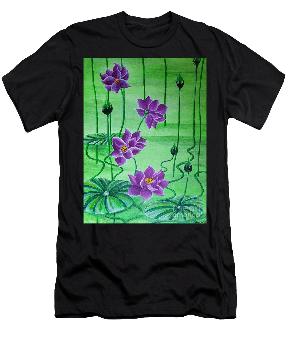 Lilies Water Pond Flowers Purple Lilies Green Purple Men's T-Shirt (Athletic Fit) featuring the mixed media Water Lilies by Tammera Malicki-Wong