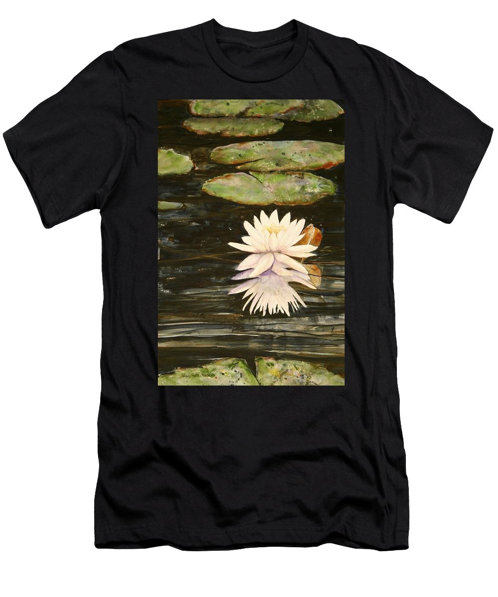 Water Men's T-Shirt (Athletic Fit) featuring the painting Water Lily And Pads by Shirley Sykes Bracken