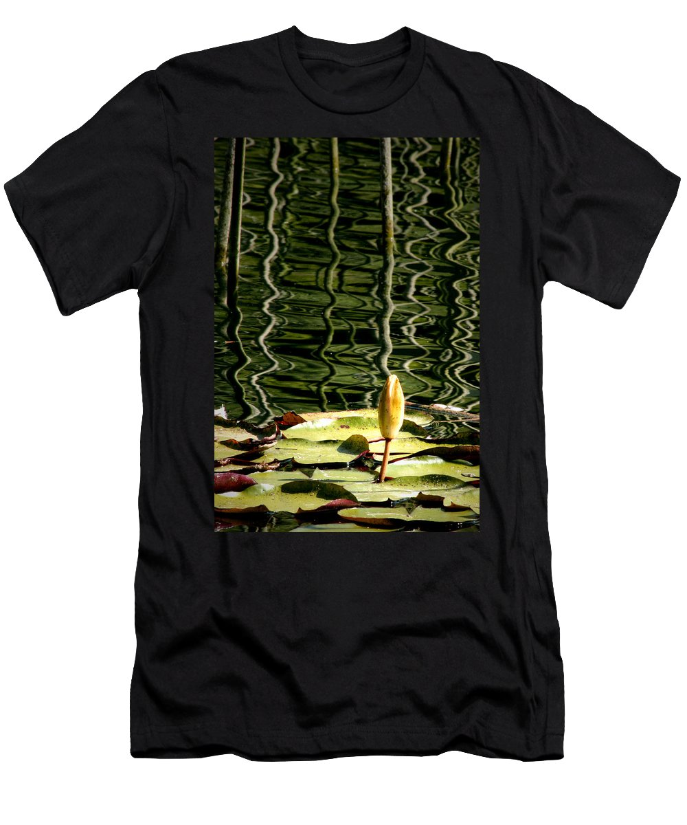 Water Lily Bud Men's T-Shirt (Athletic Fit) featuring the photograph Water Lily Budd by Chris Brannen