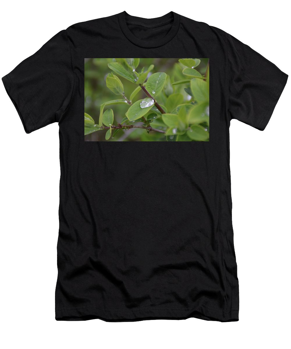 Water Droplet Men's T-Shirt (Athletic Fit) featuring the photograph Water Or Silicone by Johnny Yen