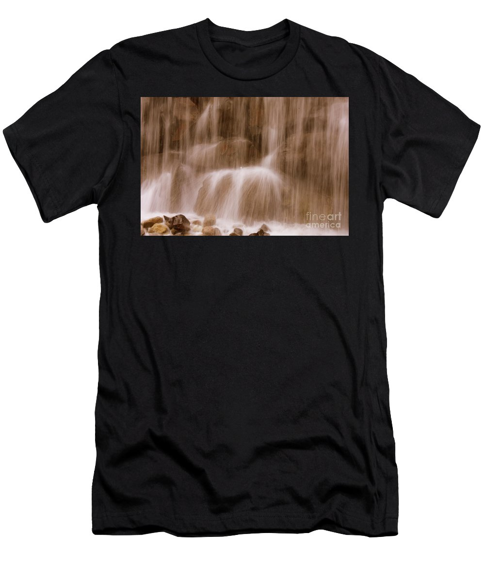 Water Men's T-Shirt (Athletic Fit) featuring the photograph Water Softly Falling by Carol Groenen