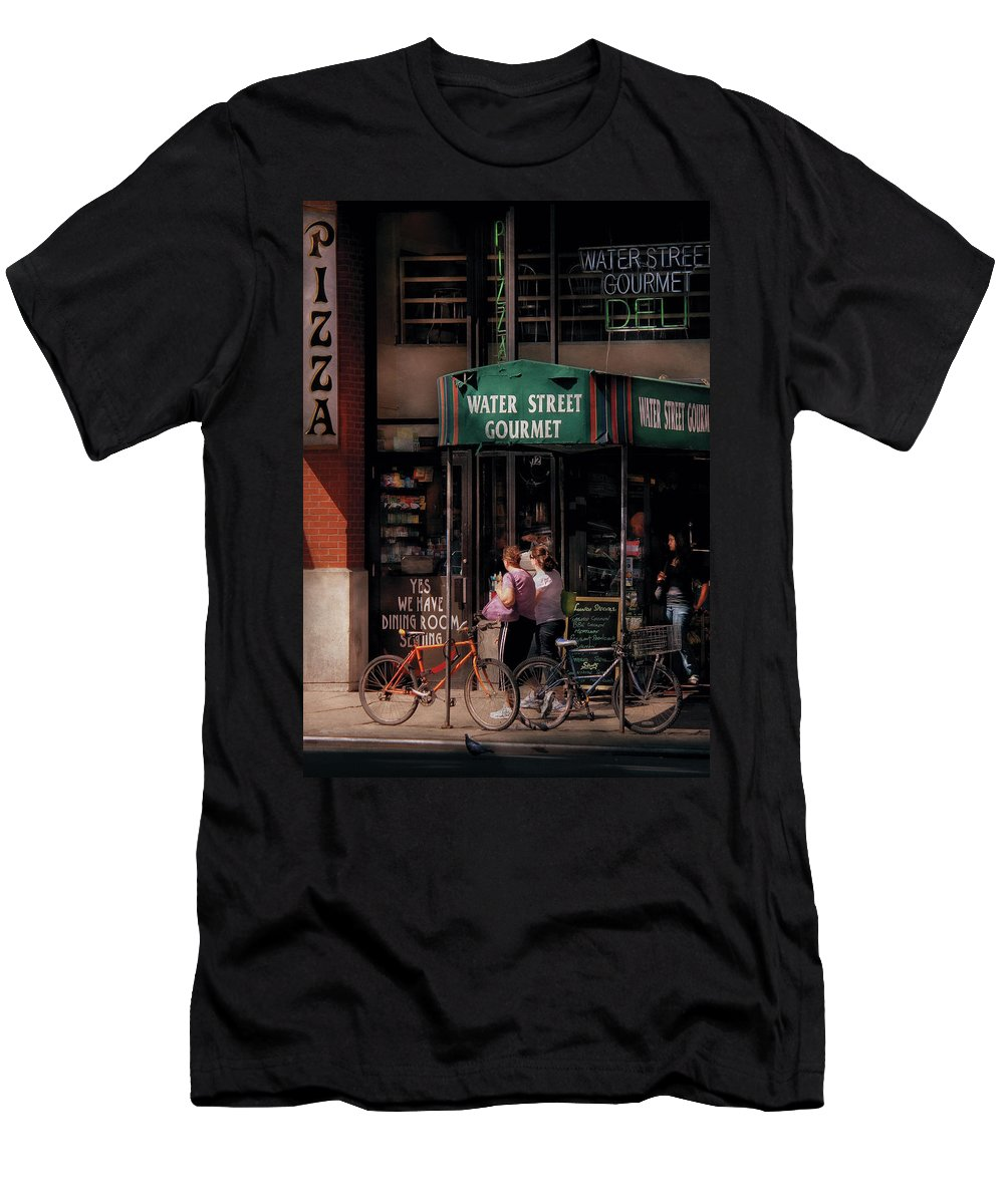 Savad Men's T-Shirt (Athletic Fit) featuring the photograph Water St Gourmet Deli by Mike Savad