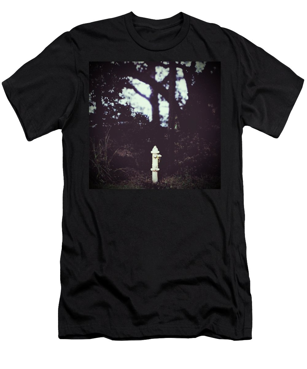 Fire Hydrant Men's T-Shirt (Athletic Fit) featuring the photograph Water Works by Keri Lynn