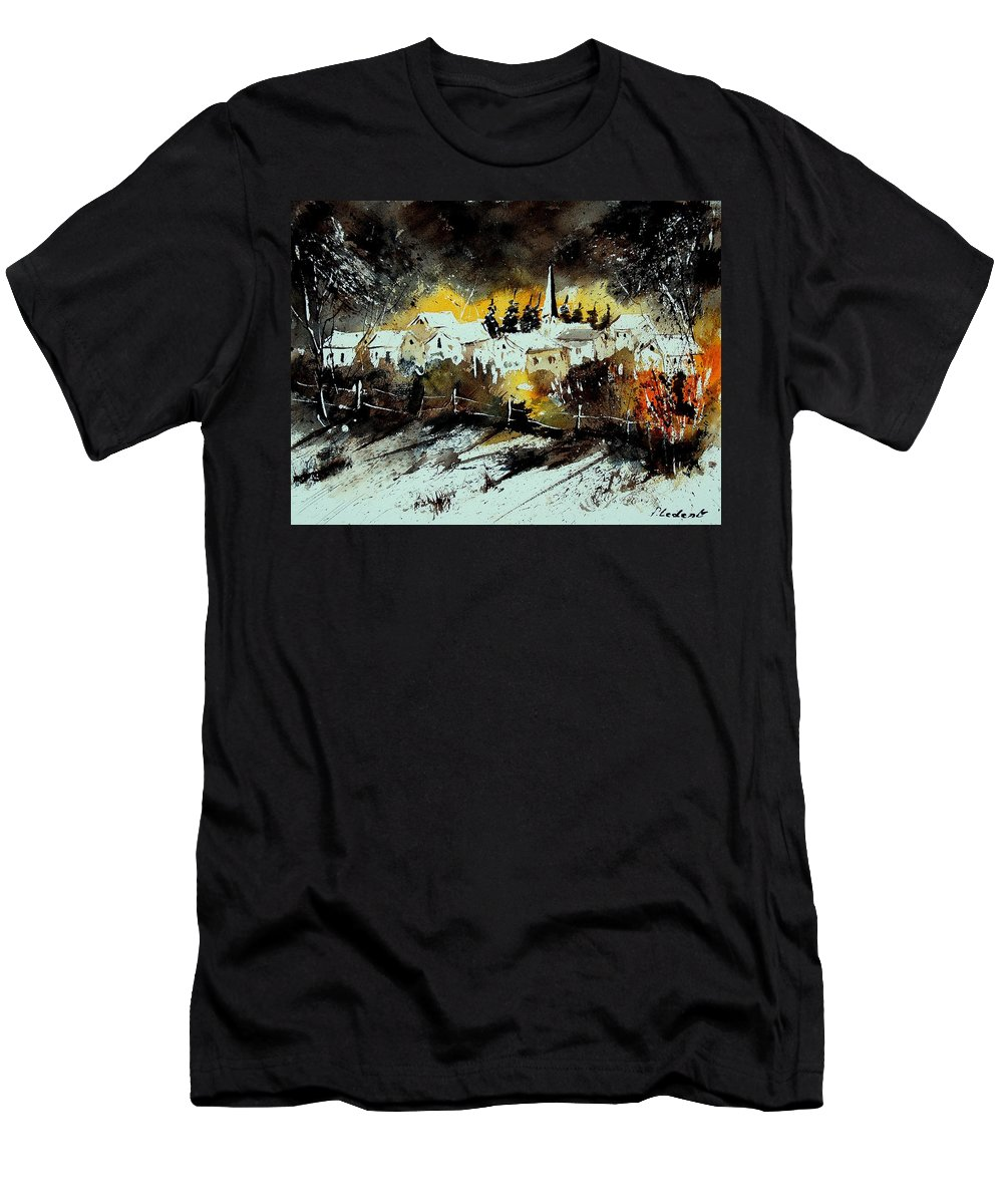 River Men's T-Shirt (Athletic Fit) featuring the painting Watercolor 909072 by Pol Ledent