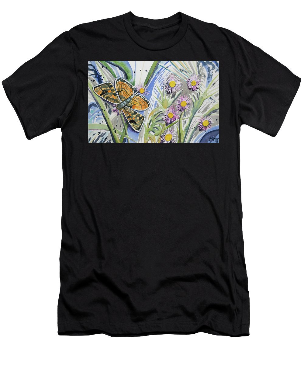 Checkerspot Men's T-Shirt (Athletic Fit) featuring the painting Watercolor - Checkerspot Butterfly With Wildflowers by Cascade Colors