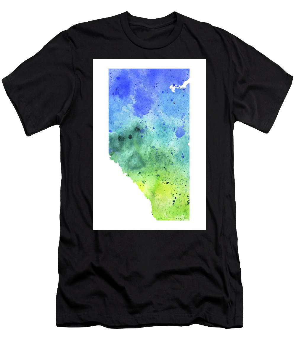 Canada Men's T-Shirt (Athletic Fit) featuring the painting Watercolor Map Of Alberta, Canada In Blue And Green by Andrea Hill