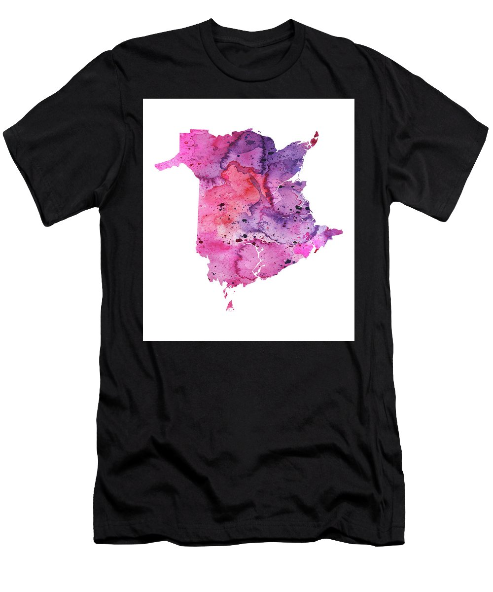 Canada Men's T-Shirt (Athletic Fit) featuring the painting Watercolor Map Of New Brunswick, Canada In Pink And Purple by Andrea Hill