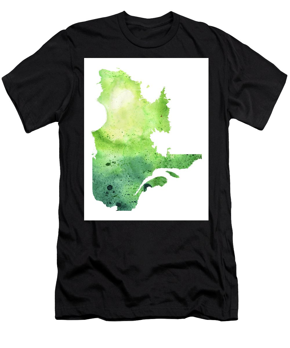 Canada Men's T-Shirt (Athletic Fit) featuring the painting Watercolor Map Of Quebec, Canada In Green by Andrea Hill