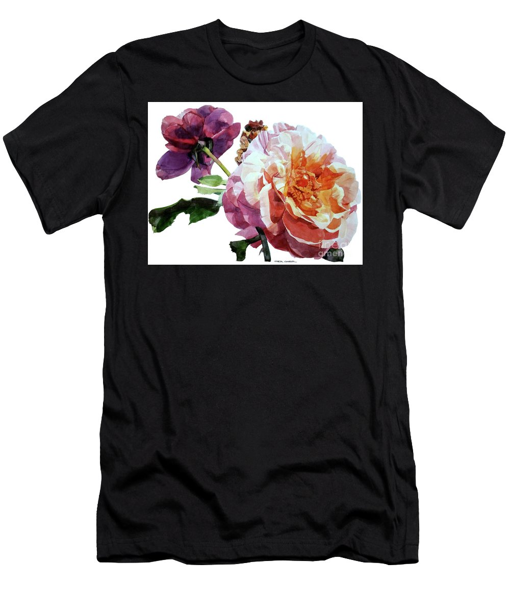 Watercolor Men's T-Shirt (Athletic Fit) featuring the painting Watercolor Of Two Roses In Pink And Violet On One Stem That I Dedicate To Jacques Brel by Greta Corens