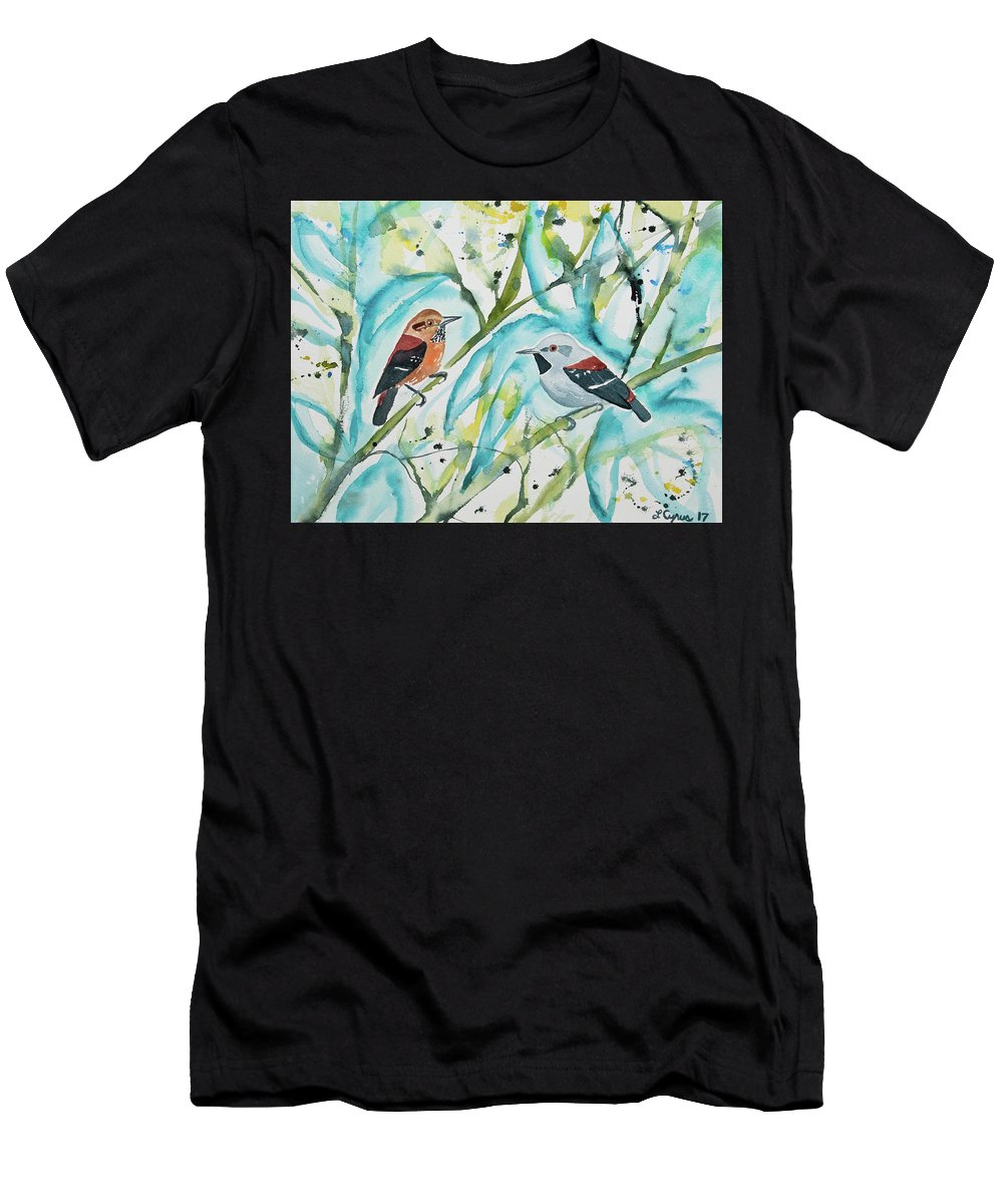 Ornate Antwren Men's T-Shirt (Athletic Fit) featuring the painting Watercolor - Ornate Antwren In The Bamboo by Cascade Colors