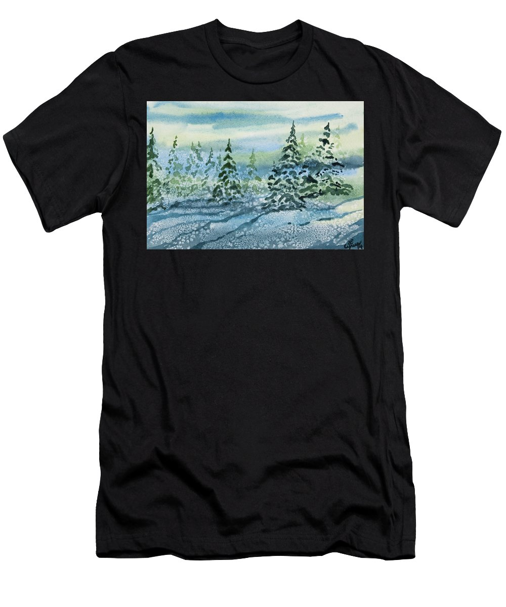 Snow Men's T-Shirt (Athletic Fit) featuring the painting Watercolor - Snowy Winter Evening by Cascade Colors
