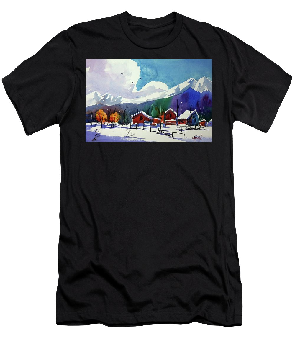 Colorado Landscapes Men's T-Shirt (Athletic Fit) featuring the painting Watercolor_3483 by Ugljesa Janjic