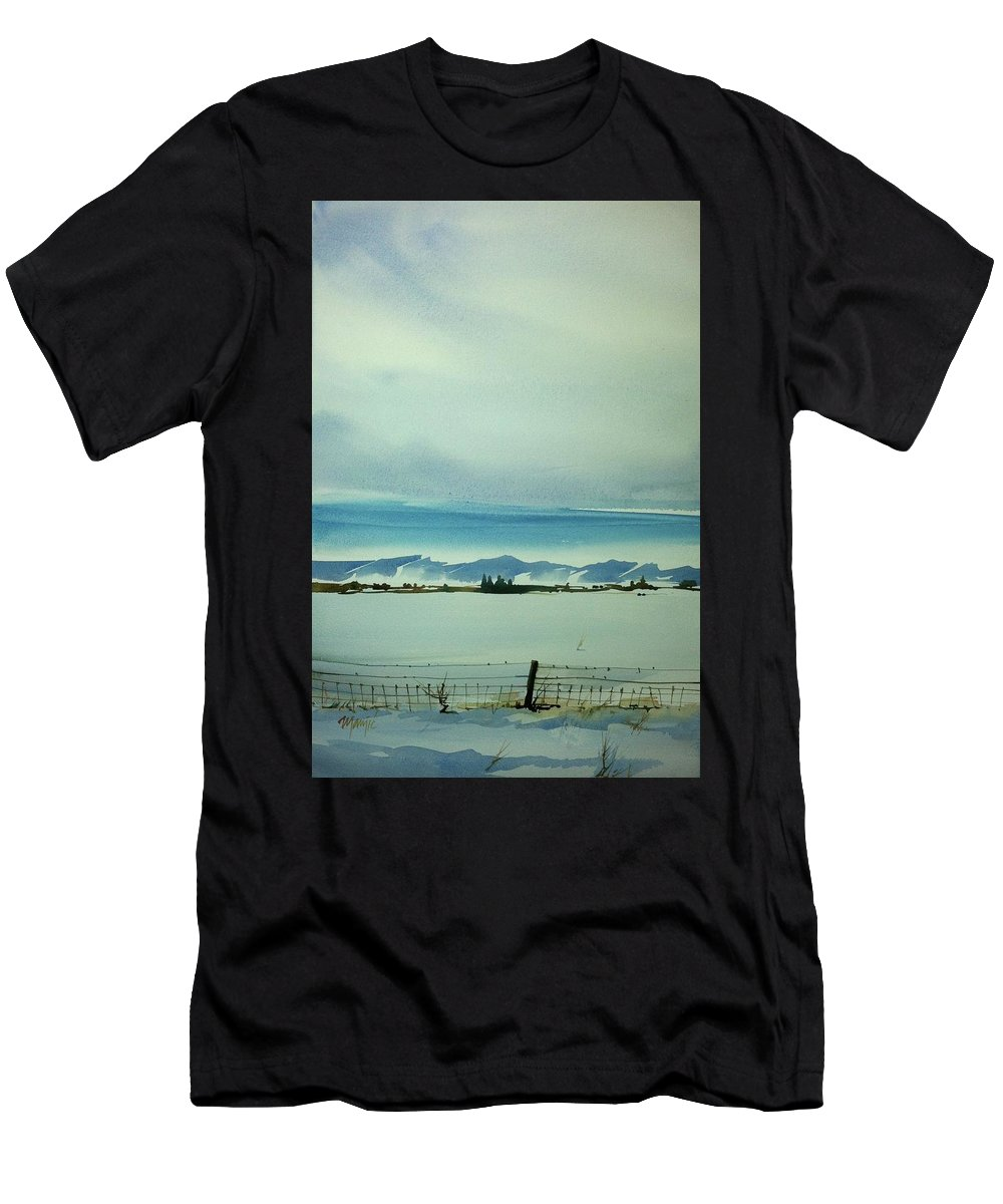 Colorado Landscape Men's T-Shirt (Athletic Fit) featuring the painting Watercolor_3493 by Ugljesa Janjic