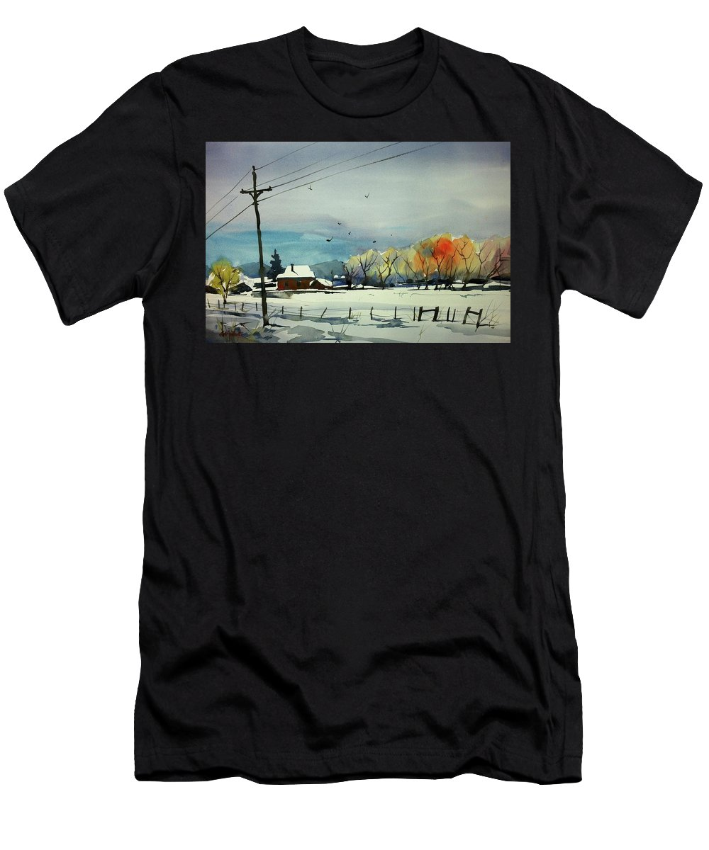 Colorado Landscape Men's T-Shirt (Athletic Fit) featuring the painting Watercolor_3508 by Ugljesa Janjic