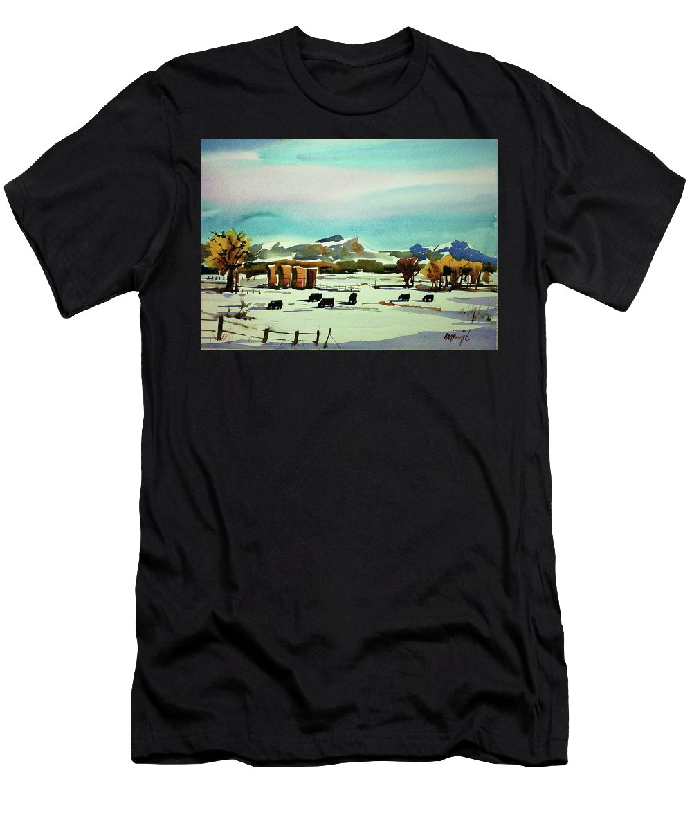 Colorado Landscape Men's T-Shirt (Athletic Fit) featuring the painting Watercolor_3514 by Ugljesa Janjic