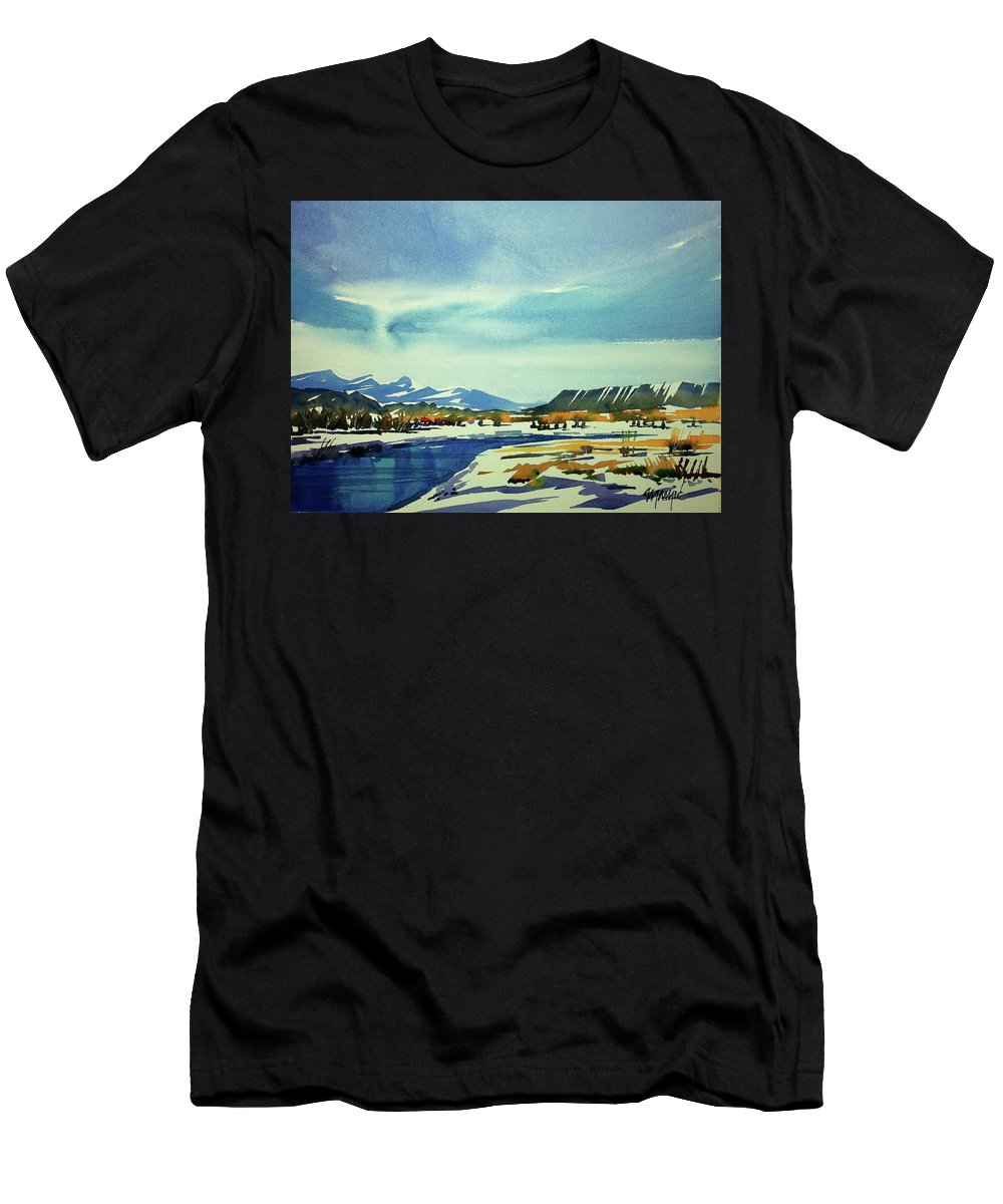 Colorado Landscape Men's T-Shirt (Athletic Fit) featuring the painting Watercolor3798 by Ugljesa Janjic