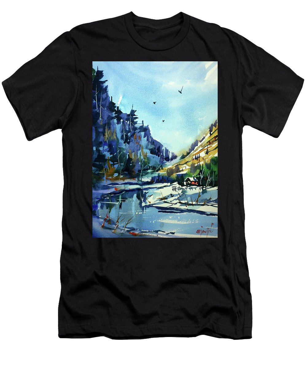 Colorado Landscape Men's T-Shirt (Athletic Fit) featuring the painting Watercolor3810 by Ugljesa Janjic