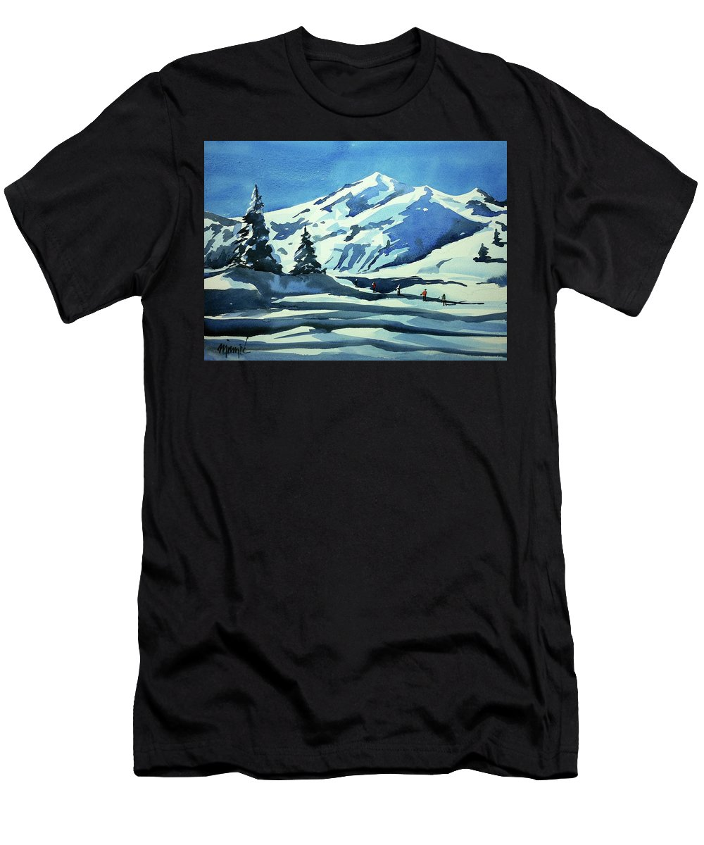 Colorado Landscape Men's T-Shirt (Athletic Fit) featuring the painting Watercolor3977 by Ugljesa Janjic