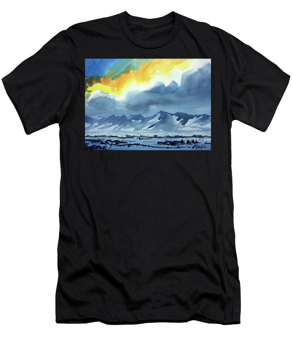Colorado Landscape Men's T-Shirt (Athletic Fit) featuring the painting Watercolor3987 by Ugljesa Janjic