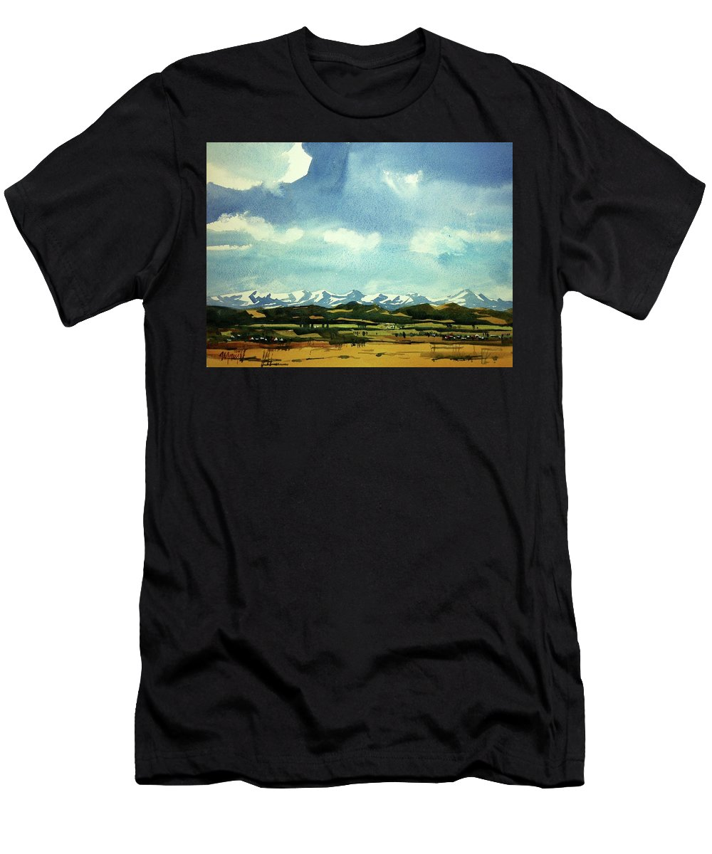 Colorado Landscape Men's T-Shirt (Athletic Fit) featuring the painting Watercolor4014 by Ugljesa Janjic