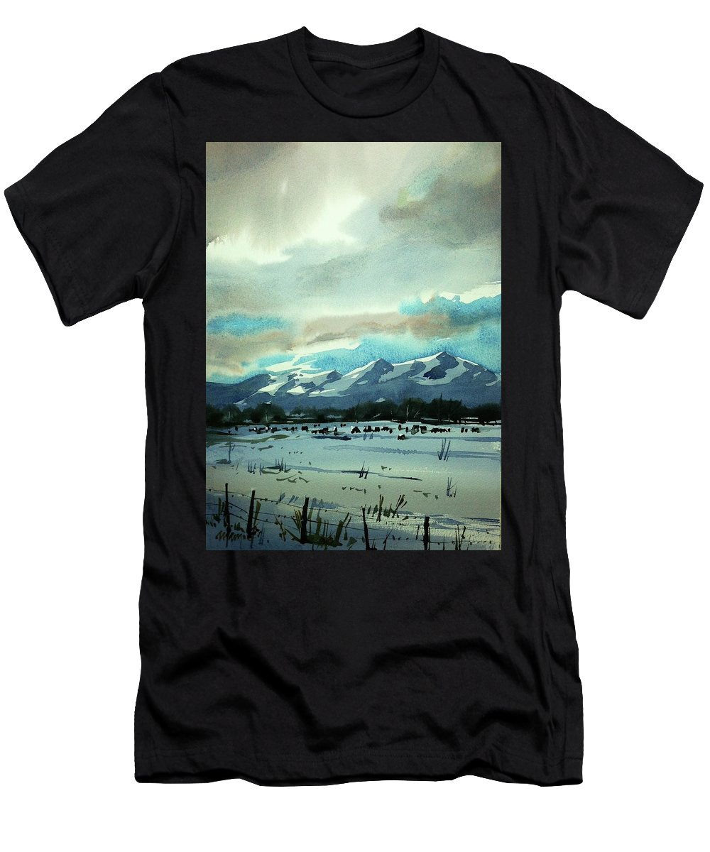 Colorado Landscape Men's T-Shirt (Athletic Fit) featuring the painting Watercolor4018 by Ugljesa Janjic
