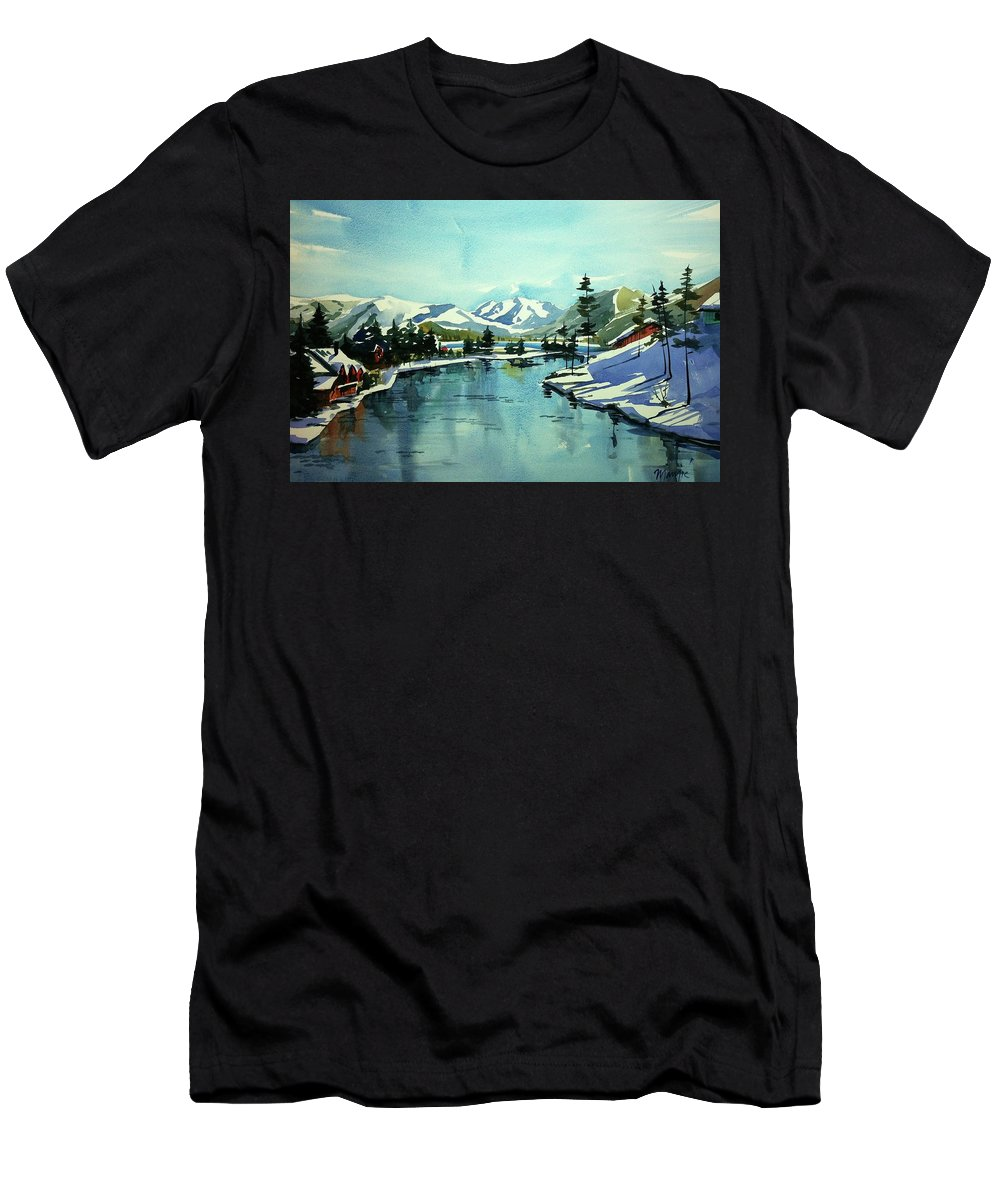 Colorado Landscape Men's T-Shirt (Athletic Fit) featuring the painting Watercolor4215 by Ugljesa Janjic