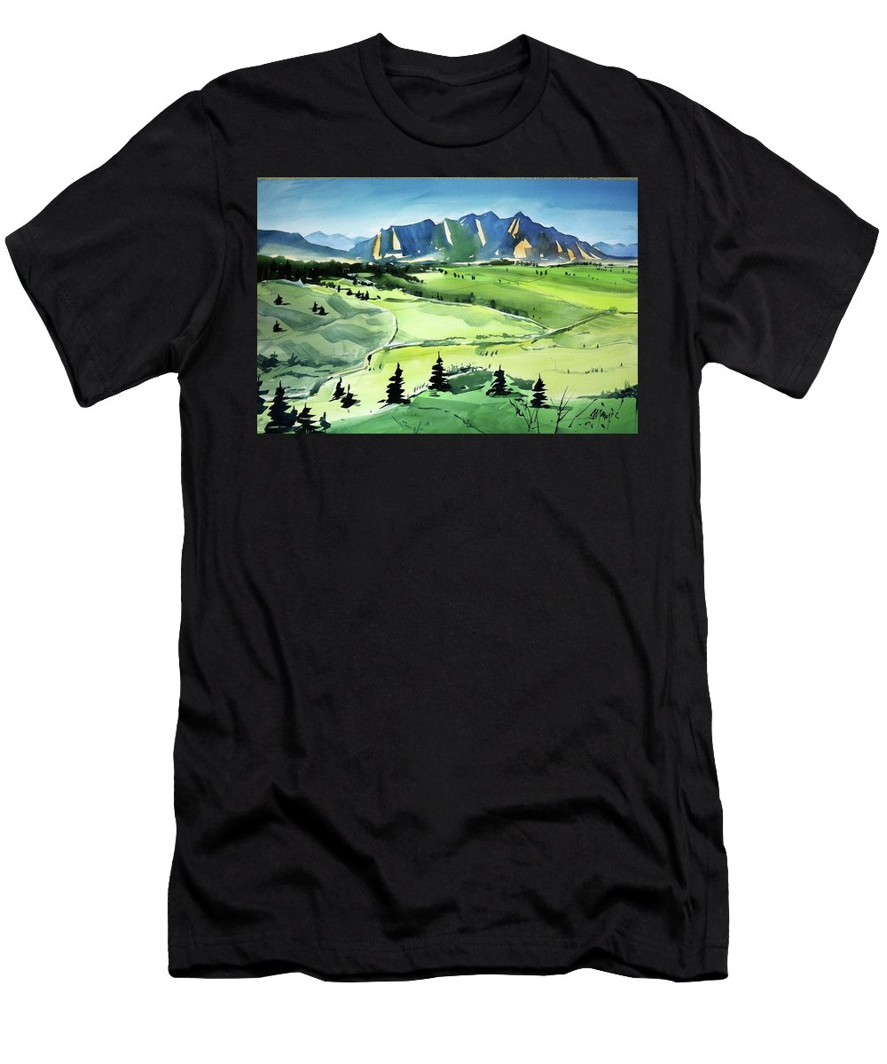 Colorado Landscape Men's T-Shirt (Athletic Fit) featuring the painting Watercolor4509 by Ugljesa Janjic