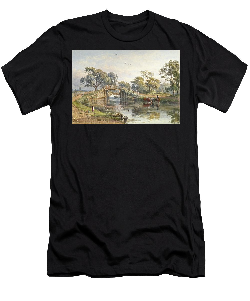 George Arthur Fripp - B 1821- D 1906 Weybridge Men's T-Shirt (Athletic Fit) featuring the painting Watercolour Heightened With White by MotionAge Designs