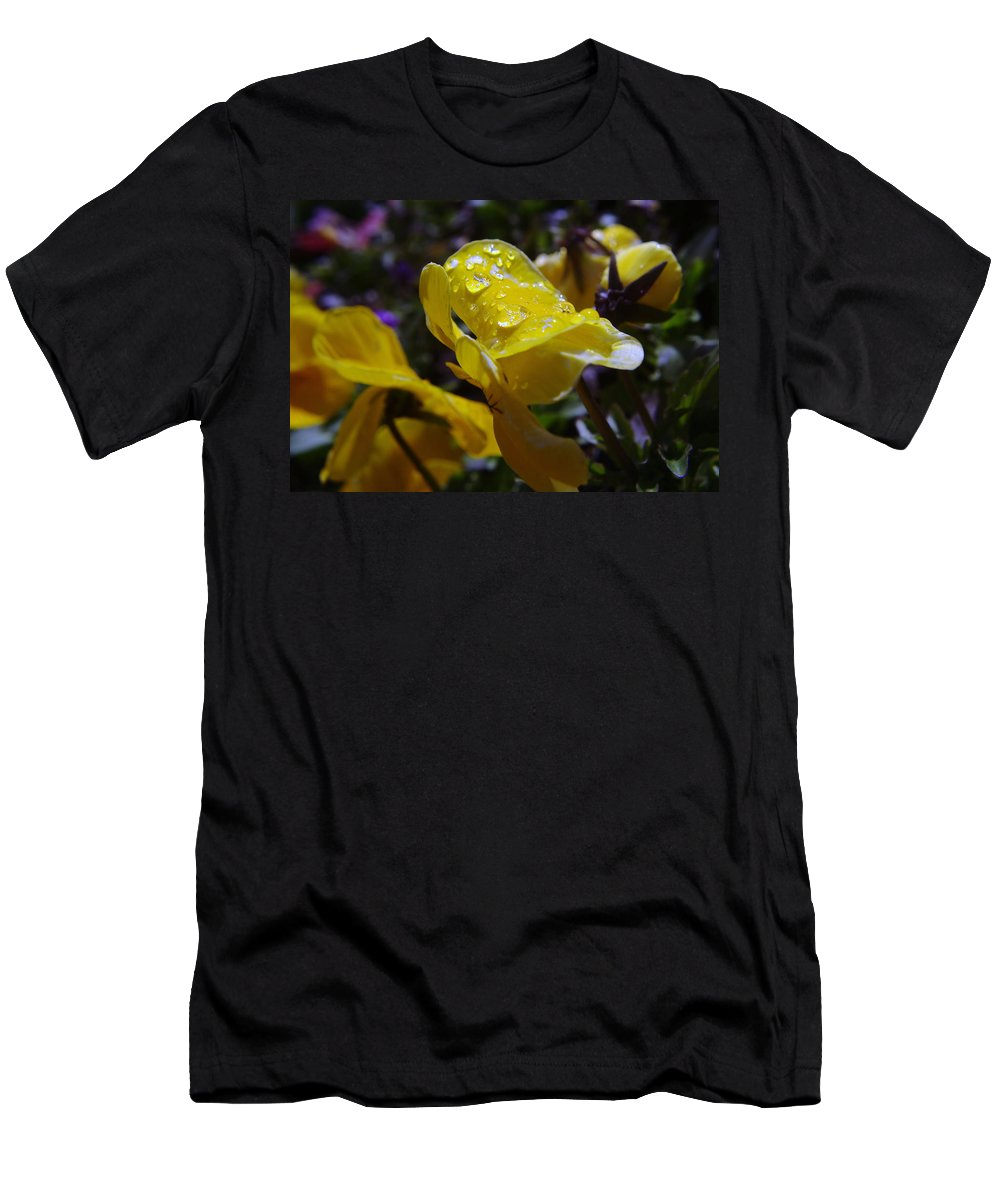 Floral Men's T-Shirt (Athletic Fit) featuring the photograph Waterdrops On A Pansy by Jeff Swan
