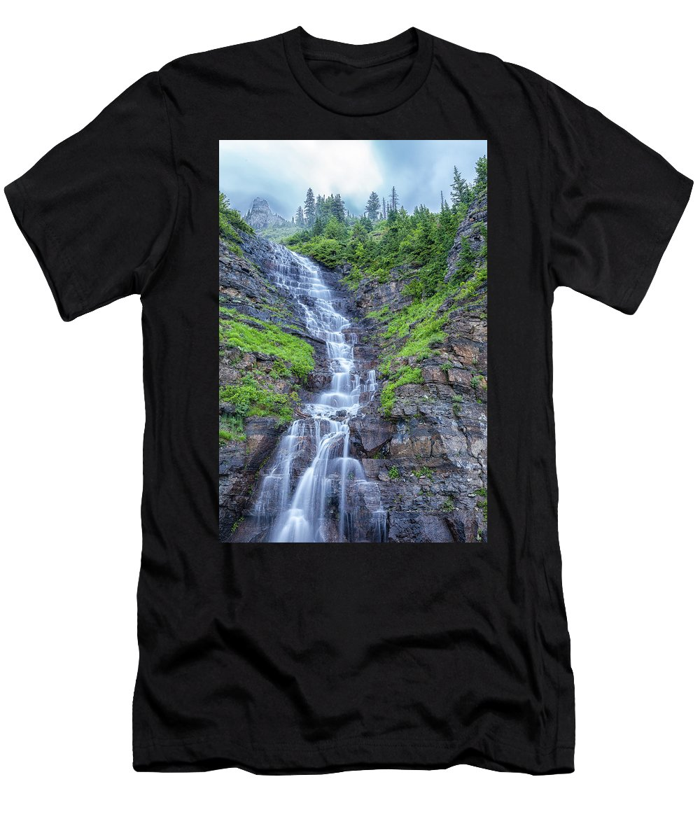 Garden Wall Men's T-Shirt (Athletic Fit) featuring the photograph Waterfall Below The Garden Wall by Blake Passmore