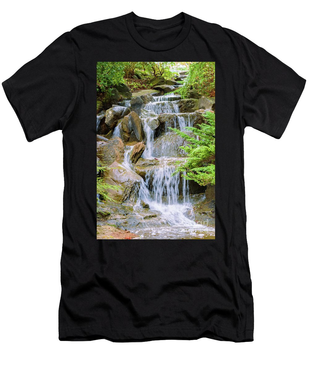 Waterfall Men's T-Shirt (Athletic Fit) featuring the photograph Waterfall In The Vandusen Botanical Garden 1 by Viktor Birkus
