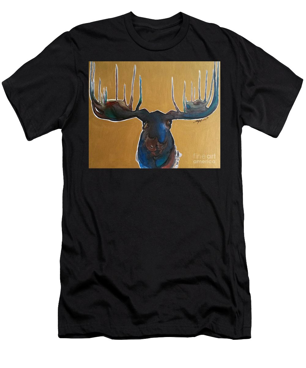 Moose Art Men's T-Shirt (Athletic Fit) featuring the painting Waterfall by Jennifer Russell
