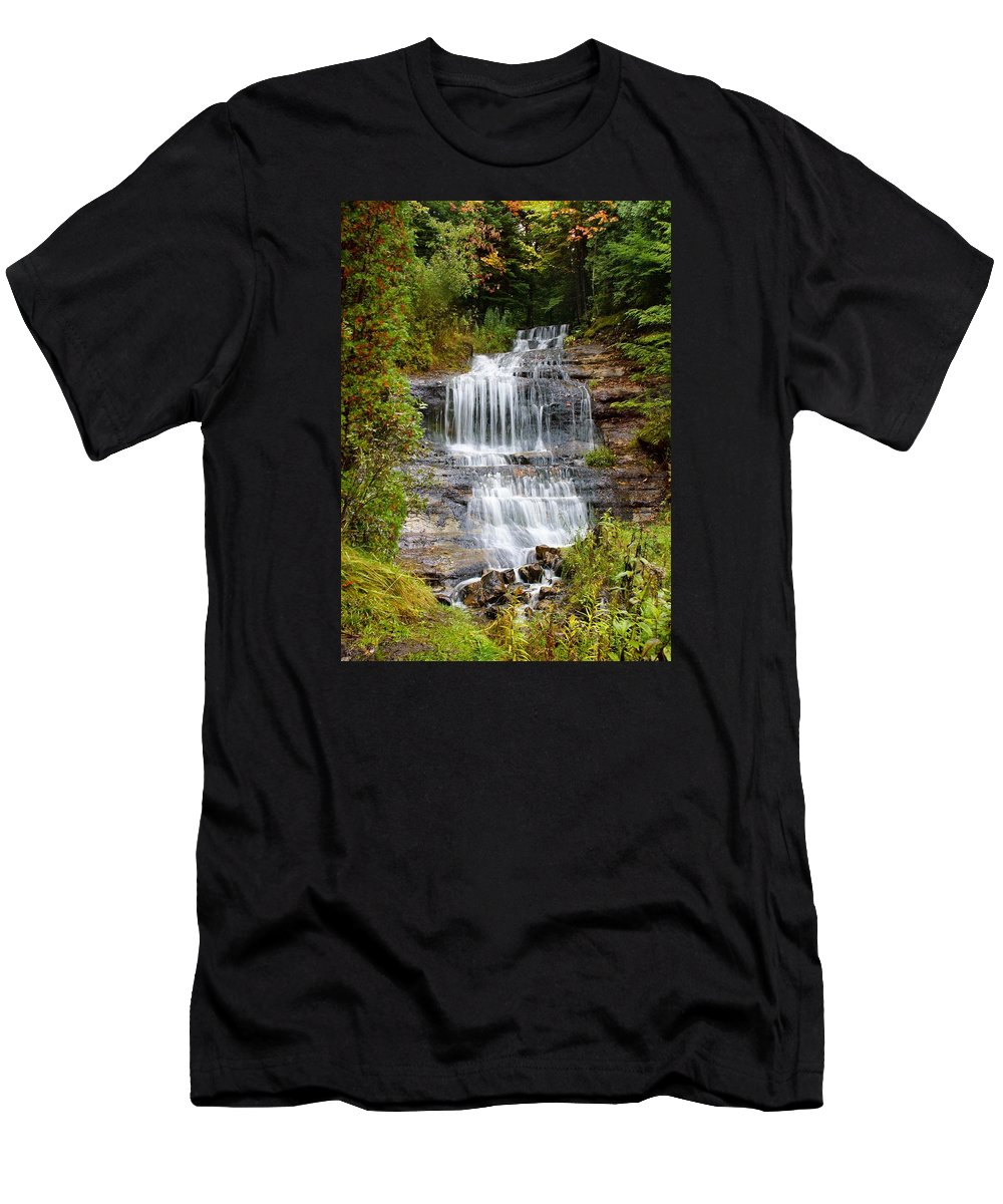 Waterfall Men's T-Shirt (Athletic Fit) featuring the photograph Waterfall by Martin Massari