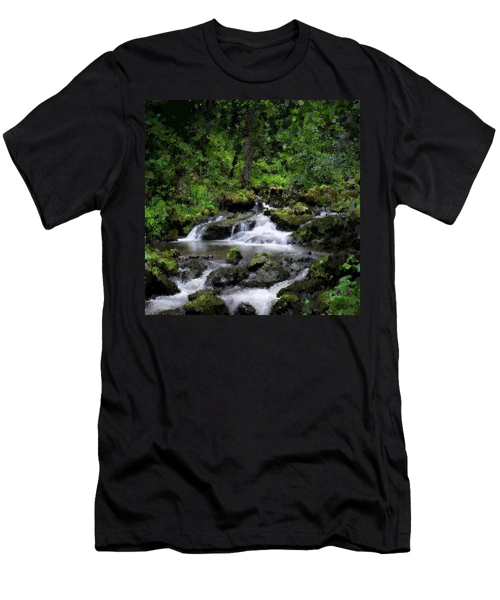 Waterfall. River. Forest. Men's T-Shirt (Athletic Fit) featuring the digital art Waterfall Medley by Michael Schimank