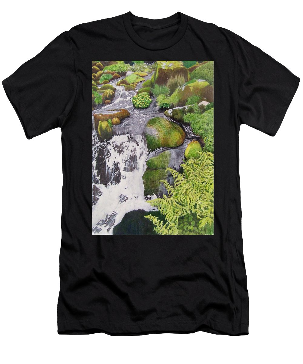 Waterfall Men's T-Shirt (Athletic Fit) featuring the mixed media Waterfall On Skye by Constance Drescher